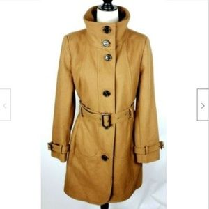 Worthington Wool Pea Coat M Lined Belted Buttons